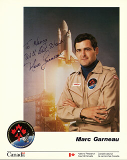 Autographs: MARC GARNEAU - INSCRIBED PHOTOGRAPH SIGNED