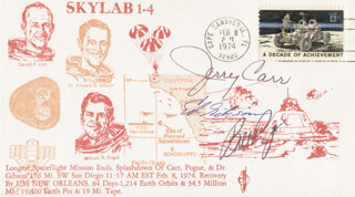 EDWARD G. GIBSON - COMMEMORATIVE ENVELOPE SIGNED CO-SIGNED BY: COLONEL GERALD P. JERRY CARR, COLONEL WILLIAM R. BILL POGUE