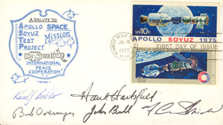 COLONEL ROBERT OVERMYER - FIRST DAY COVER SIGNED CO-SIGNED BY: COLONEL KAROL J. BOBKO, JOHN S. BULL, F. CURTIS MICHEL, COLONEL HENRY HANK HARTSFIELD JR.