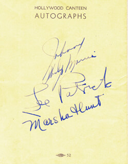 LEE PATRICK - AUTOGRAPH CO-SIGNED BY: MARSHA HUNT, JOHNNY PHILLIP MORRIS ROVENTINI