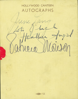 PATRICIA MORISON - AUTOGRAPH CO-SIGNED BY: JUNE LANG, HEATHER G. ANGEL