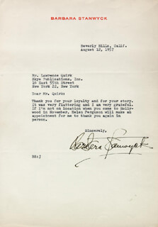 BARBARA STANWYCK - TYPED LETTER SIGNED 08/12/1957