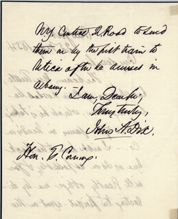 Autographs: MAJOR GENERAL JOHN A. DIX - AUTOGRAPH LETTER SIGNED 05/25/1854