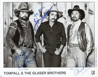 THE GLASER BROTHERS - INSCRIBED PHOTOGRAPH SIGNED CO-SIGNED BY: THE GLASER BROTHERS (TOM PALL), THE GLASER BROTHERS (JIM GLASER), THE GLASER BROTHERS (CHUCK GLASER)