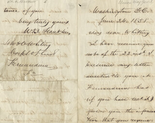MAJOR GENERAL WILLIAM B. FRANKLIN - AUTOGRAPH LETTER SIGNED 06/24/1858