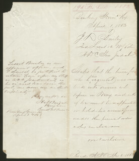 BRIGADIER GENERAL HENRY MOSES JUDAH - AUTOGRAPH ENDORSEMENT SIGNED 04/02/1863