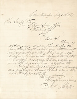 BRIGADIER GENERAL JAMES SHIELDS - AUTOGRAPH LETTER SIGNED 07/31/1869
