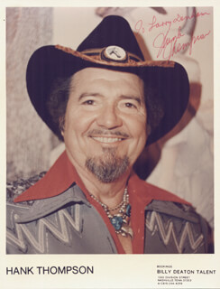 HANK THOMPSON - AUTOGRAPHED INSCRIBED PHOTOGRAPH