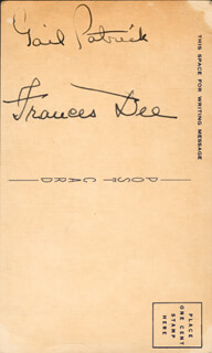 FRANCES DEE - AUTOGRAPH CO-SIGNED BY: GAIL PATRICK