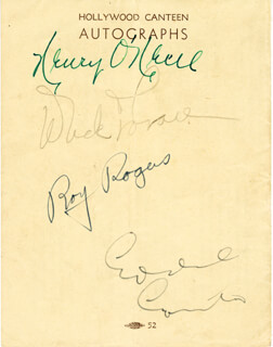 EDDIE CANTOR - AUTOGRAPH CO-SIGNED BY: HENRY O'NEILL, DICK POWELL, ROY ROGERS
