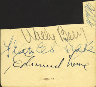 WALLACE BEERY - CLIPPED SIGNATURE CO-SIGNED BY: FRANCES DRAKE, EDMUND LOWE