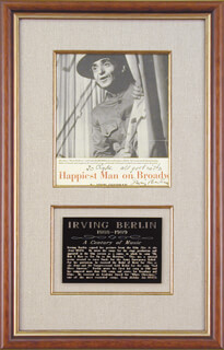 IRVING BERLIN - INSCRIBED MAGAZINE PHOTO SIGNED