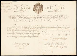 Autographs: KING CHARLES X (FRANCE) - MILITARY APPOINTMENT SIGNED 06/20/1817