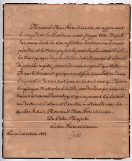 KING LOUIS XVIII (FRANCE) - MANUSCRIPT LETTER SIGNED 11/18/1814