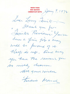 FREDRIC MARCH - AUTOGRAPH LETTER SIGNED 01/09/1972