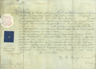KING WILLIAM IV - MILITARY APPOINTMENT SIGNED 12/01/1830 CO-SIGNED BY: PRIME MINISTER WILLIAM (VISCOUNT MELBOURNE II) LAMB (GREAT BRITAIN)