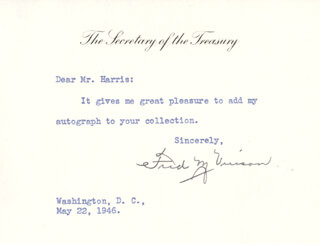 CHIEF JUSTICE FRED M. VINSON - TYPED NOTE SIGNED 05/22/1946