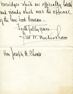 Autographs: GEORGE W. WICKERSHAM - AUTOGRAPH LETTER SIGNED 10/16/1910