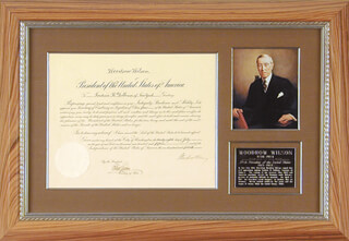 Autographs: PRESIDENT WOODROW WILSON - DIPLOMATIC APPOINTMENT SIGNED 07/28/1915 CO-SIGNED BY: ROBERT LANSING