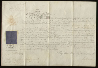 Autographs: KING WILLIAM IV - MILITARY APPOINTMENT SIGNED 01/17/1834 CO-SIGNED BY: PRIME MINISTER WILLIAM (VISCOUNT MELBOURNE II) LAMB (GREAT BRITAIN)