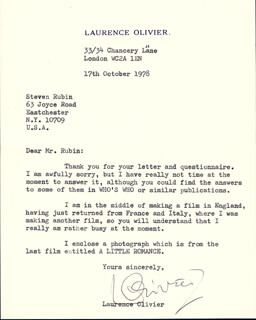 LAURENCE OLIVIER - TYPED LETTER SIGNED 10/17/1978