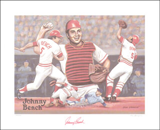 JOHNNY BENCH - PRINTED ART SIGNED IN INK CO-SIGNED BY: DON SPRAGUE