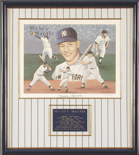 MICKEY MANTLE - PRINTED ART SIGNED IN INK CO-SIGNED BY: DON SPRAGUE