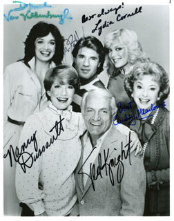 TOO CLOSE FOR COMFORT TV CAST - AUTOGRAPHED SIGNED PHOTOGRAPH CO-SIGNED BY: TED KNIGHT, NANCY DUSSAULT, AUDREY MEADOWS, DEBORAH VAN VALKENBURGH, LYDIA CORNELL, JM J. BULLOCK