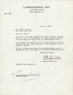 FREDRIC MARCH - DOCUMENT SIGNED 04/04/1962