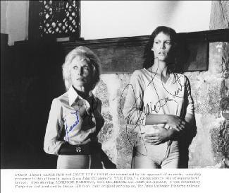 THE FOG MOVIE CAST - PRINTED PHOTOGRAPH SIGNED IN INK CO-SIGNED BY: JAMIE LEE CURTIS, JANET LEIGH