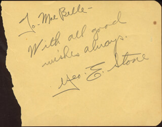 GEORGE E. STONE - AUTOGRAPH NOTE SIGNED