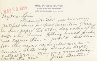 JAMES BARTON - AUTOGRAPH LETTER SIGNED 05/20/1954