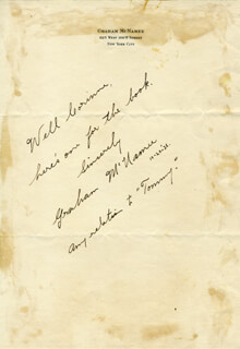 GRAHAM McNAMEE - AUTOGRAPH NOTE SIGNED 10/20/1936
