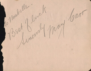 Autographs: MARY CARR - AUTOGRAPH NOTE SIGNED CO-SIGNED BY: DICKIE MOORE