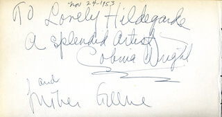 COBINA WRIGHT - AUTOGRAPH NOTE SIGNED 11/24/1953 CO-SIGNED BY: LUTHER GREENE
