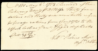 GENERAL TIMOTHY PICKERING - AUTOGRAPH DOCUMENT SIGNED 05/02/1783
