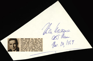 MIKE WALLACE - AUTOGRAPH 11/19/1967