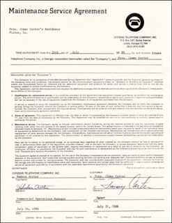 Autographs: PRESIDENT JAMES E. JIMMY CARTER - DOCUMENT SIGNED 07/31/1986