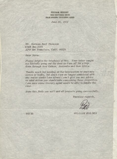 WILLIAM HOLDEN - TYPED LETTER SIGNED 06/26/1972