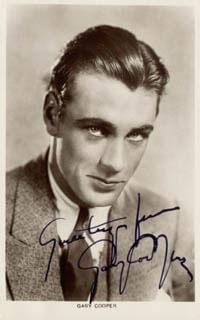 GARY COOPER - PICTURE POST CARD SIGNED