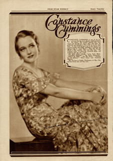 CONSTANCE CUMMINGS - MAGAZINE PHOTOGRAPH SIGNED