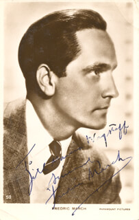 FREDRIC MARCH - INSCRIBED PICTURE POSTCARD SIGNED