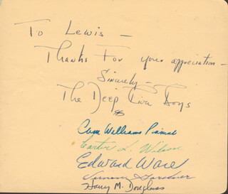 Autographs: THE DEEP RIVER BOYS - AUTOGRAPH NOTE SIGNED CO-SIGNED BY: THE DEEP RIVER BOYS (CAMERON WILLIAMS), THE DEEP RIVER BOYS (CARTER L. WILSON), THE DEEP RIVER BOYS (EDWARD WARE), THE DEEP RIVER BOYS (VERNON GARDNER), THE DEEP RIVER BOYS (HARRY DOUGLASS)