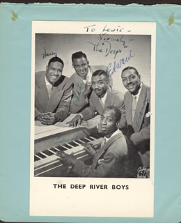 THE DEEP RIVER BOYS - INSCRIBED PRINTED PHOTOGRAPH SIGNED IN INK CO-SIGNED BY: THE DEEP RIVER BOYS (CAMERON WILLIAMS), THE DEEP RIVER BOYS (CARTER L. WILSON), THE DEEP RIVER BOYS (EDWARD WARE), THE DEEP RIVER BOYS (VERNON GARDNER), THE DEEP RIVER BOYS (HARRY DOUGLASS)