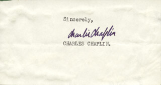Autographs: CHARLIE THE LITTLE TRAMP CHAPLIN - SIGNATURE(S)