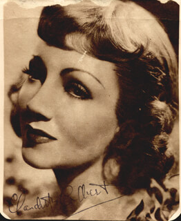 CLAUDETTE COLBERT - MAGAZINE PHOTOGRAPH SIGNED