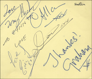 THE HOLLIES - INSCRIBED SIGNATURE CO-SIGNED BY: THE HOLLIES (ALLAN CLARKE), THE HOLLIES (TONY ANTHONY HICKS), THE HOLLIES (DONALD RATHBONE), THE HOLLIES (ERIC HAYDOCK), GRAHAM NASH
