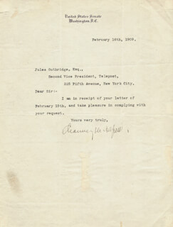 Autographs: CHAUNCEY M. DEPEW - TYPED LETTER SIGNED 02/16/1909
