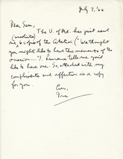 IRA GERSHWIN - AUTOGRAPH LETTER SIGNED 07/07/1966