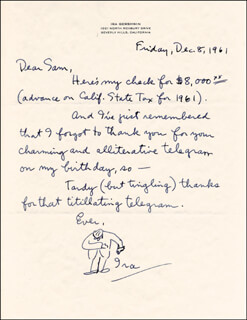 IRA GERSHWIN - AUTOGRAPH LETTER SIGNED 12/08/1961